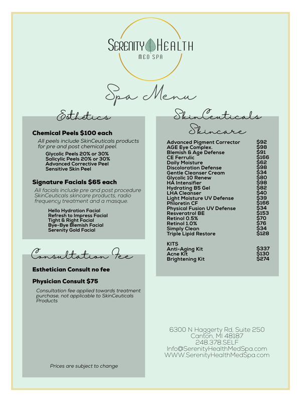 canton med spa- menu